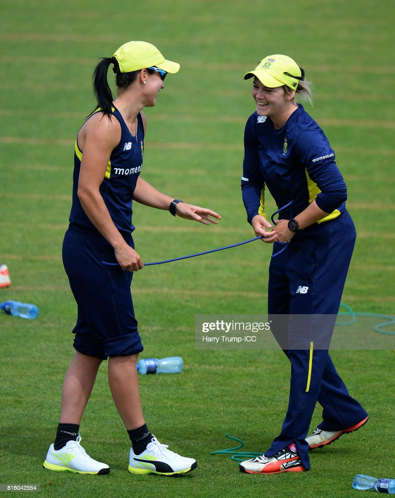 Dane Van Niekerk(R) and Marizanne Kapp of South Africa share a joke during the England v South Africa - ICC Women's World Cup: Previews at the Brightside Ground on July 17, 2017 in Bristol, England.