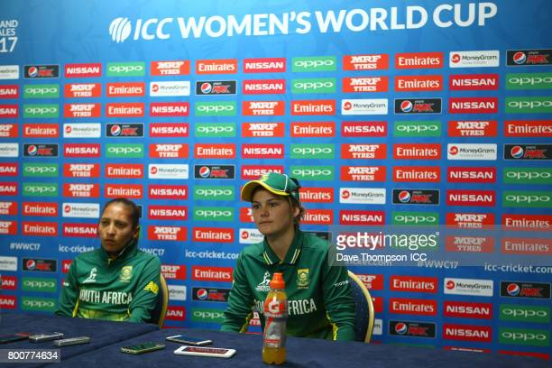 Dane van Niekerk of South Africa and Shabnim Ismail of South Africa during a press conference following the ICC Women's World Cup match between...