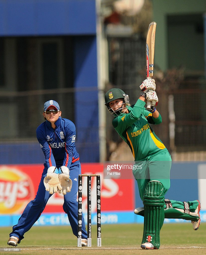 Dane Van Niekerk of South Africa bats during the Super Sixes match between England and South Africa held at the Barabati stadium on February 10, 2013 in Cuttack, India.