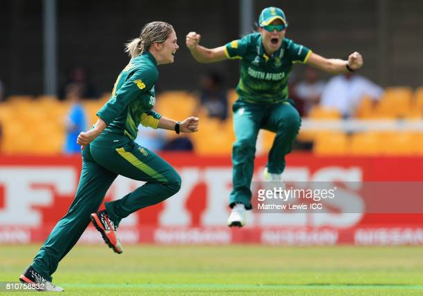 Dane van Niekerk of South Africa celebrates bowling Mithali Raj of India during the ICC Women's World Cup 2017 match between South Africa and India...