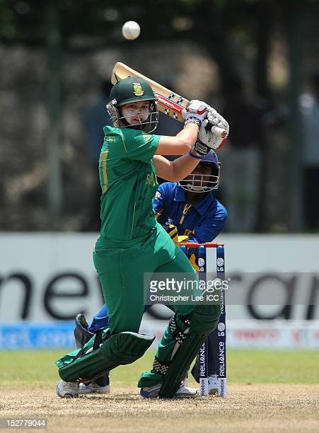 Dane Van Niekerk of South Africa in action as Dilani Manodara of Sri Lanka watches from the stumps during the ICC Women's World Twenty20 Group B...