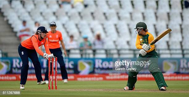 Dane van Niekerk of South Africa is stumped by England wicketkeeper Sarah Taylor during the 2nd T20 International match between South Africa Women...