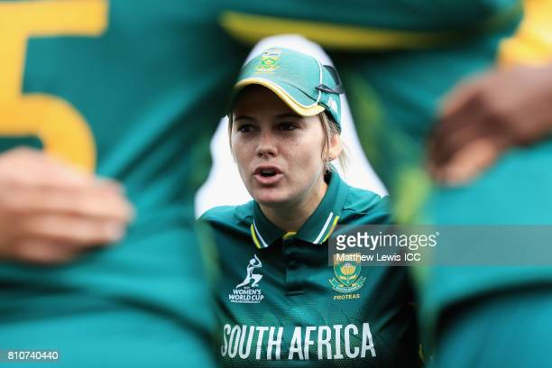 Dane van Niekerk of South Africa talks to her team ahead of the second innings during the ICC Women's World Cup 2017 match between South Africa and...