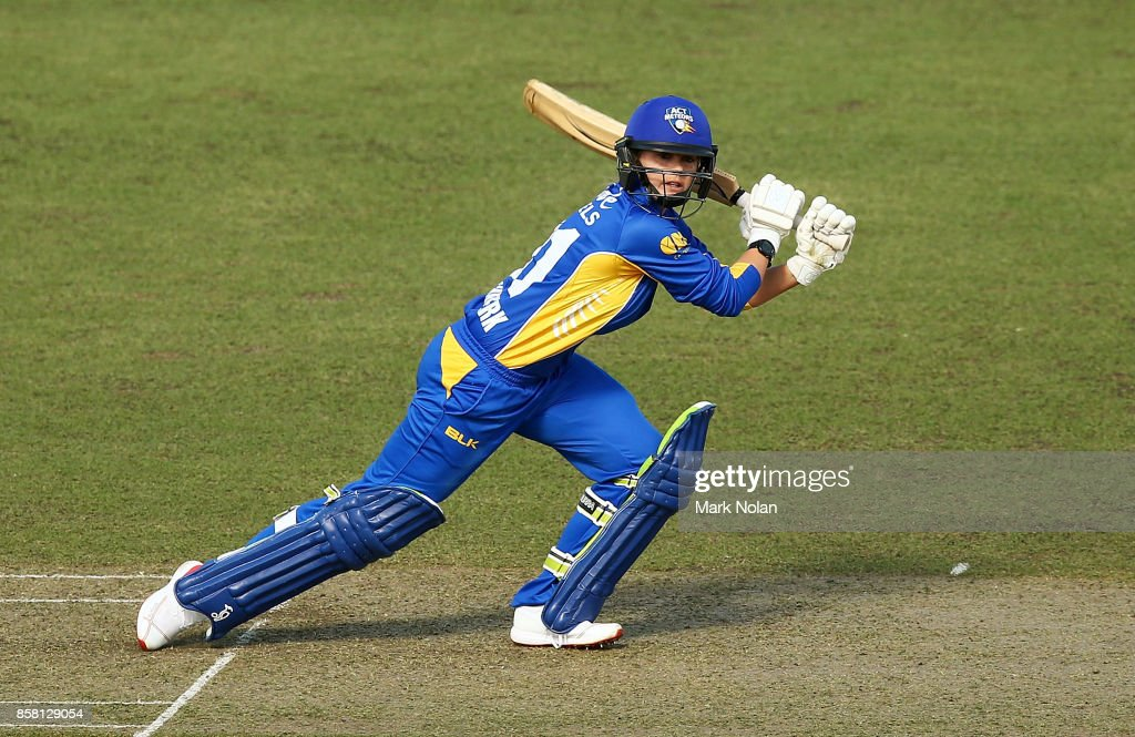 Dane Van Niekerk of the ACT bats during the WNCL match between ACT and Victoria at Manuka Oval on October 6, 2017 in Canberra, Australia.