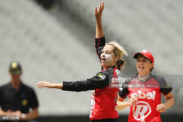 Dane Van Niekerk of the Renegades celebrates her wicket of Kelly Applebee of the Stars during the Women's Big Bash League match between the Melbourne...