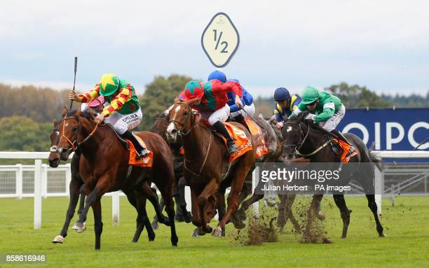 Danehill Kodiac ridden by Sean Levy gets the better of Waldgeist ridden by Vincent Cheminaud to win The Gigaset Cumberland Lodge Stakes Race at Ascot...