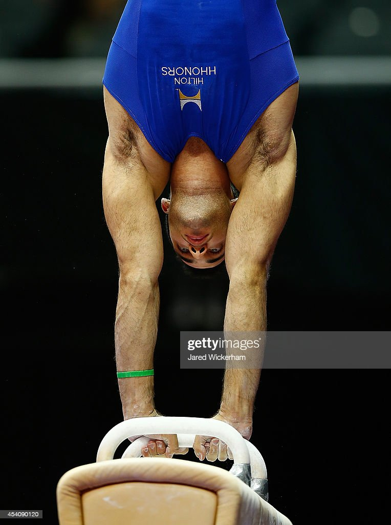 <a gi-track='captionPersonalityLinkClicked' href=/galleries/search?phrase=Danell+Leyva+-+Gymnast&family=editorial&specificpeople=5069666 ng-click='$event.stopPropagation()'>Danell Leyva</a> competes on the pommel horse in the senior men finals during the 2014 P&G Gymnastics Championships at Consol Energy Center on August 24, 2014 in Pittsburgh, Pennsylvania.