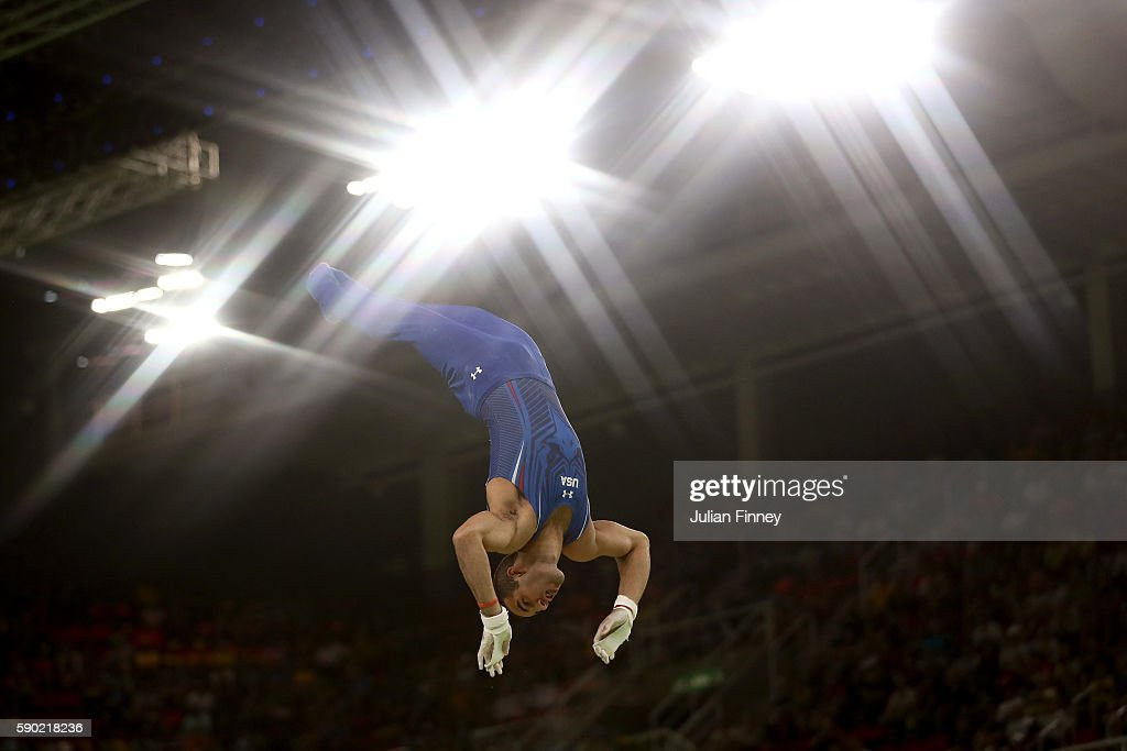Danell Leyva of the United States competes on the Horizontal Bar Final on Day 11 of the Rio 2016 Olympic Games at the Rio Olympic Arena on August 16...