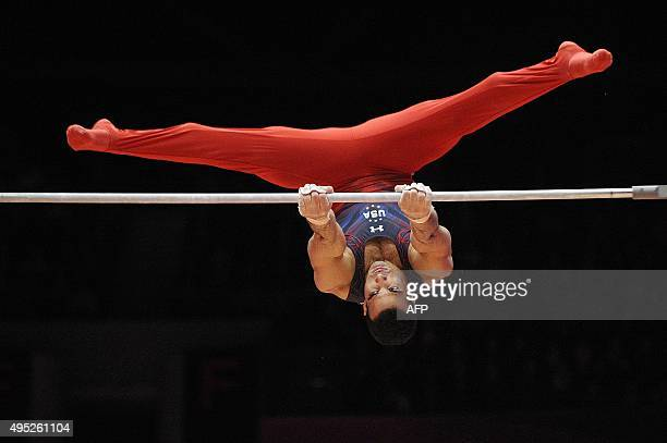 US Danell Leyva performs in the Men's Horizontal bar Final at the 2015 World Gymnastics Championship in Glasgow Scotland on November 1 2015 AFP PHOTO...