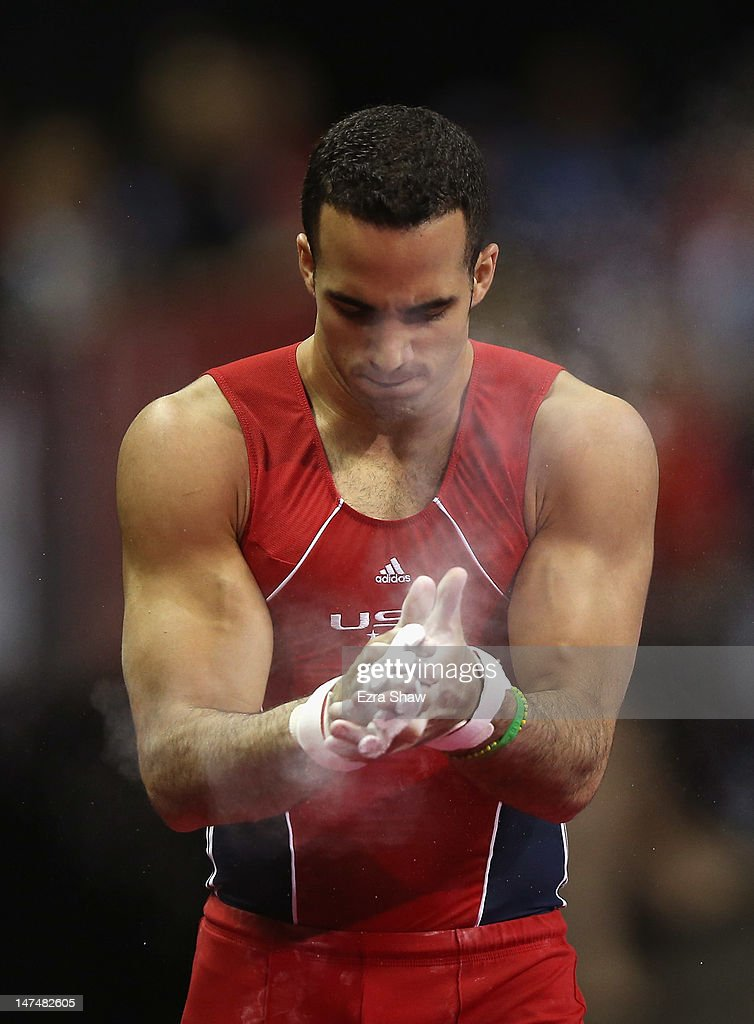 <a gi-track='captionPersonalityLinkClicked' href=/galleries/search?phrase=Danell+Leyva+-+Gymnast&family=editorial&specificpeople=5069666 ng-click='$event.stopPropagation()'>Danell Leyva</a> reacts after he competed on the high bar during day 3 of the 2012 U.S. Olympic Gymnastics Team Trials at HP Pavilion on June 30, 2012 in San Jose, California.