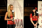 Danelle Leverett and Susie Brown of the Jane Dear Girls attend the 2011 CMA Awards nominations at the Ryman Auditorium on September 6 2011 in...