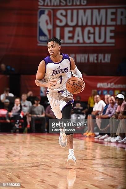 DAngelo Russell of the Los Angeles Lakers brings the ball up court against the Cleveland Cavaliers during the 2016 NBA Las Vegas Summer League on...