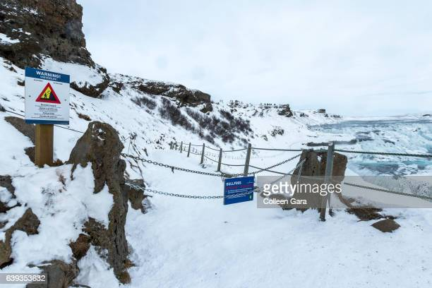 Danger and Caution Signs at Gullfoss Waterfall, Iceland