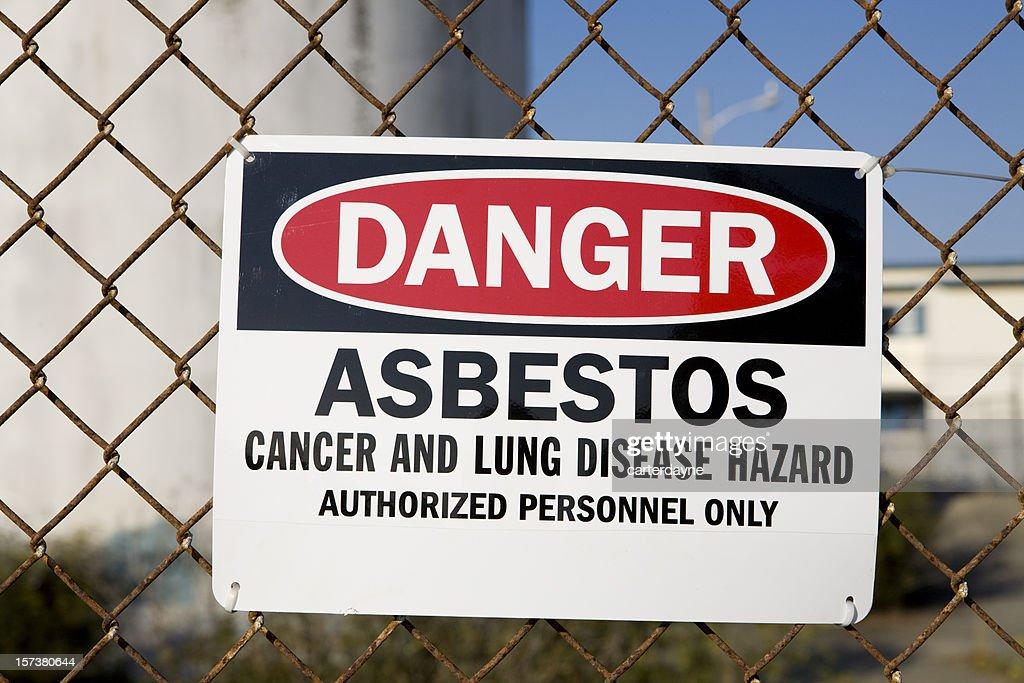 Panneau d'avertissement de Danger amiante : Photo