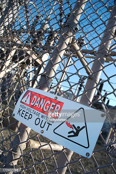 Danger High Voltage Keep Out Sign Electricity Station