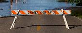 Street closure due to flood waters in Wichita, Kansas.