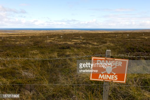 Danger Minefield with warning sign