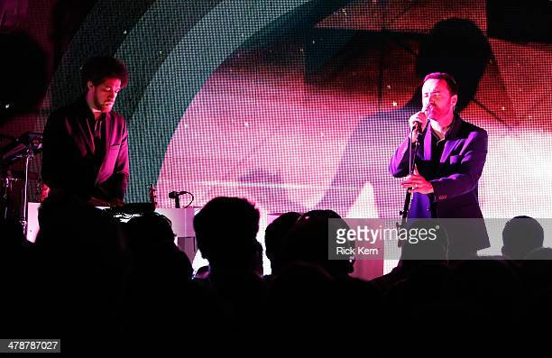 Danger Mouse and James Mercer perform onstage as Samsung Galaxy presents Broken Bells at SXSW on March 14 2014 in Austin Texas