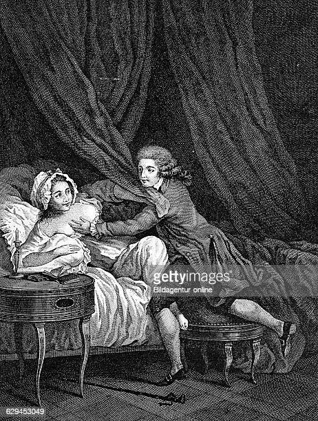 Dangerous intimacy french copper engraving by nerbe 18th century