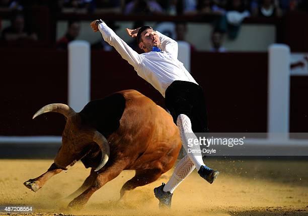 Dani Alonso performs during the Liga de Corte Puro finals at the Plaza de Toros on September 6 2015 in Valladolid Spain Corte Puro involves the art...