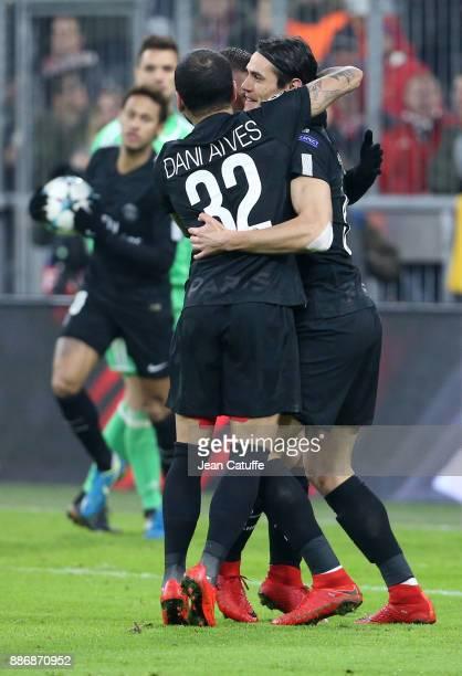 Dani Alves aka Daniel Alves and Edinson Cavani of PSG celebrate the goal of Kylian Mbappe during the UEFA Champions League group B match between...