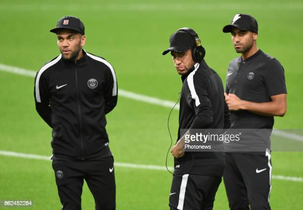 Dani Alves and Neymar of PSG pictured during a walk on the pitch a day before UEFA Champion League match group B between RSC Anderlecht and Paris...