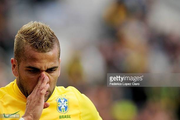 Dani Alves from Brazil in action during the ball during a matchg between Brazil and Venezuela at Ciudad de La Plata Stadium as part of the group B of...