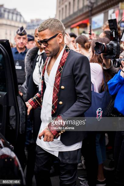 Dani Alves is seen after the Balmain fashion show during Paris Fashion week Womenswear SS18 on September 28 2017 in Paris France