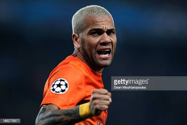 Dani Alves of Barcelona celebrates in front of his fans during the UEFA Champions League Quarter Final match between Paris SaintGermain and Barcelona...