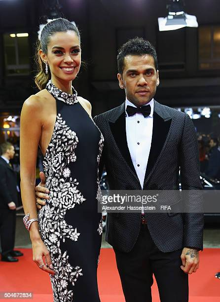 Dani Alves of Brazil and Barcelona and girlfriend Joana Sanz arrive for the FIFA Ballon d'Or Gala 2015 at the Kongresshaus on January 11 2016 in...