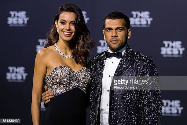 Dani Alves of Brazil and Juventus arrives with a guest for The Best FIFA Football Awards 2016 on January 9 2017 in Zurich Switzerland