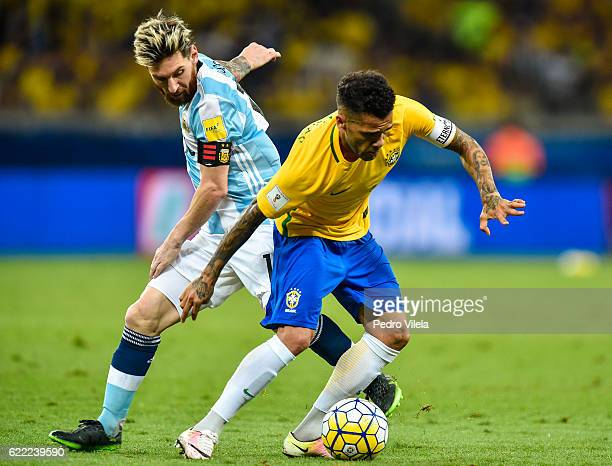 Dani Alves of Brazil and Messi of Argentina battle for the ball during a match between Brazil and Argentina as part 2018 FIFA World Cup Russia...