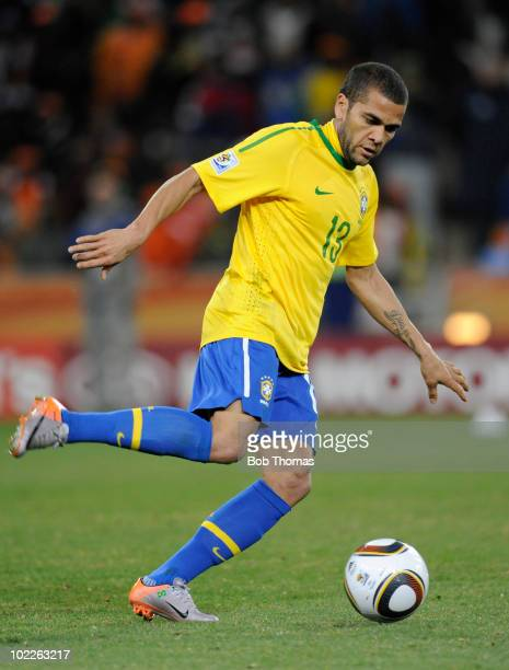 Dani Alves of Brazil during the 2010 FIFA World Cup South Africa Group G match between Brazil and Ivory Coast at Soccer City Stadium on June 20 2010...