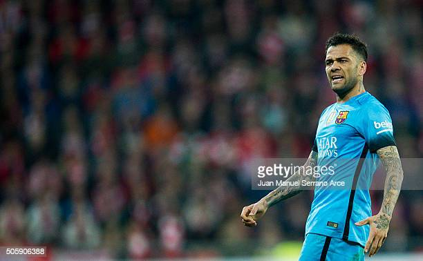 Dani Alves of FC Barcelola reacts during the Copa del Rey Quarter Final First Leg match between Athletic Club and FC Barcelola at San Mames Stadium...