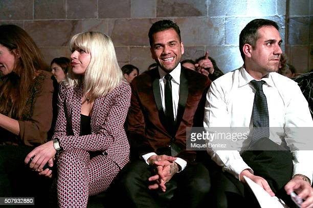 Dani Alves of FC Barcelona attends the front row of TCN show during the Barcelona 080 Fashion Week Autumn/Winter 2016/2017 at Casa Llotja de Mar on...