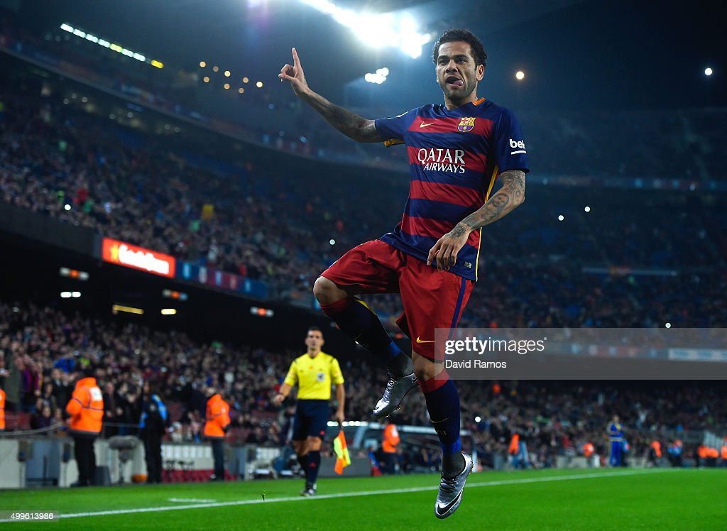 <a gi-track='captionPersonalityLinkClicked' href=/galleries/search?phrase=Dani+Alves&family=editorial&specificpeople=2191863 ng-click='$event.stopPropagation()'>Dani Alves</a> of FC Barcelona celebrates after scoring the opening goal during the Copa del Rey Round of 32 second leg match betwen FC Barcelona and Villanovense on December 2, 2015 in Barcelona, Spain.