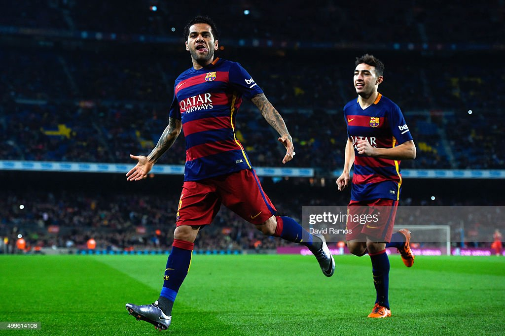 Dani Alves of FC Barcelona celebrates after scoring the opening goal during the Copa del Rey Round of 32 second leg match betwen FC Barcelona and Villanovense on December 2, 2015 in Barcelona, Spain.