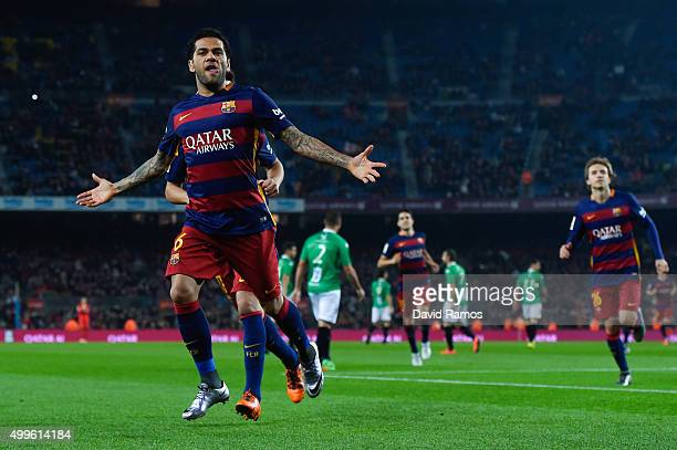 Dani Alves of FC Barcelona celebrates after scoring the opening goal during the Copa del Rey Round of 32 second leg match betwen FC Barcelona and...