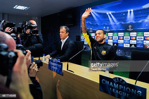 Dani Alves of FC Barcelona faces the media during a press conference ahead the UEFA Champions League Quarter Final first leg match against Atletico...