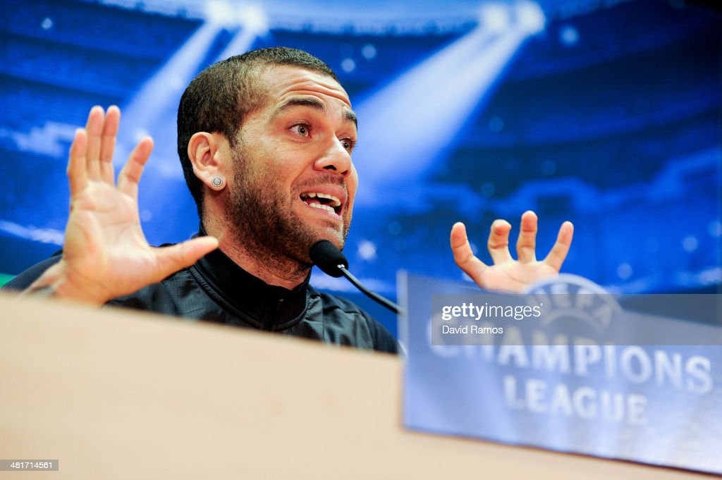 <a gi-track='captionPersonalityLinkClicked' href=/galleries/search?phrase=Dani+Alves&family=editorial&specificpeople=2191863 ng-click='$event.stopPropagation()'>Dani Alves</a> of FC Barcelona faces the media during a press conference ahead the UEFA Champions League Quarter Final first leg match against Atletico de Madrid at Sant Joan Despi Sport Complex on March 31, 2014 in Barcelona, Spain.