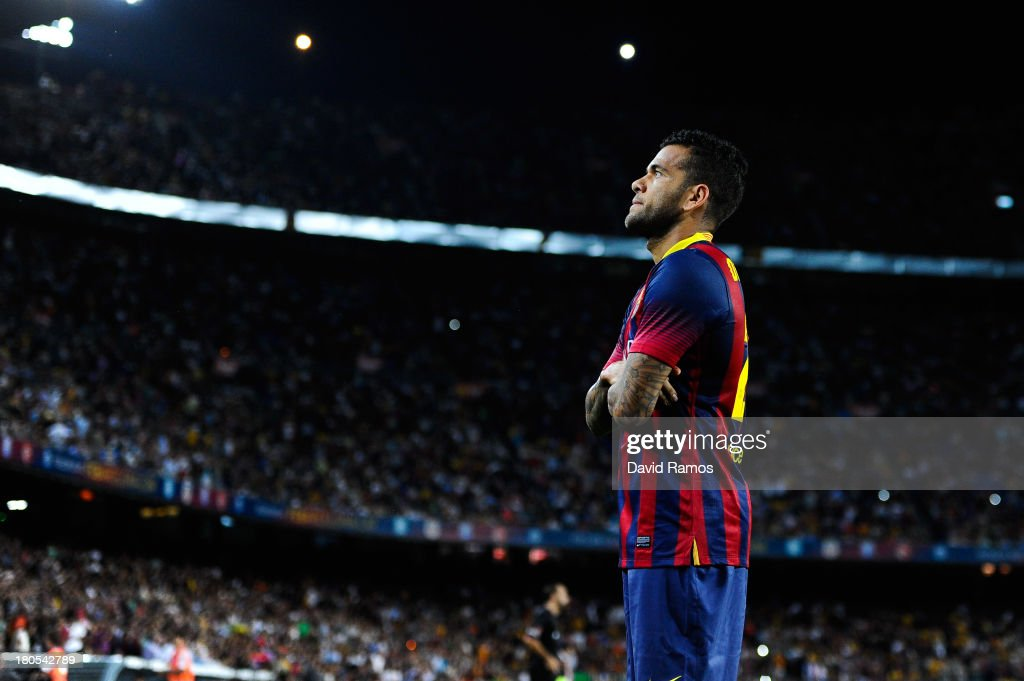 <a gi-track='captionPersonalityLinkClicked' href=/galleries/search?phrase=Dani+Alves&family=editorial&specificpeople=2191863 ng-click='$event.stopPropagation()'>Dani Alves</a> of FC Barcelona reacts after scoring the opening goal the La Liga match between FC Barcelona and Sevilla FC at Camp Nou on September 14, 2013 in Barcelona, Spain.