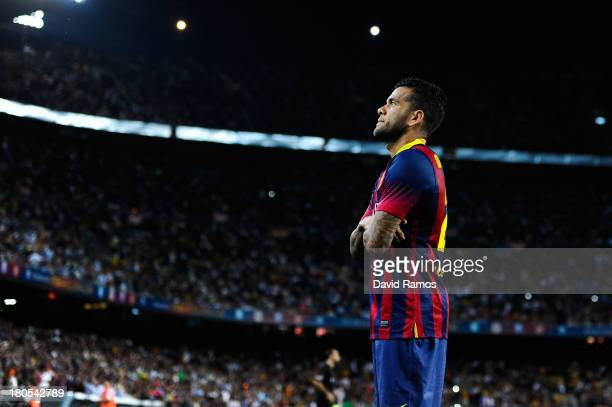 Dani Alves of FC Barcelona reacts after scoring the opening goal the La Liga match between FC Barcelona and Sevilla FC at Camp Nou on September 14...
