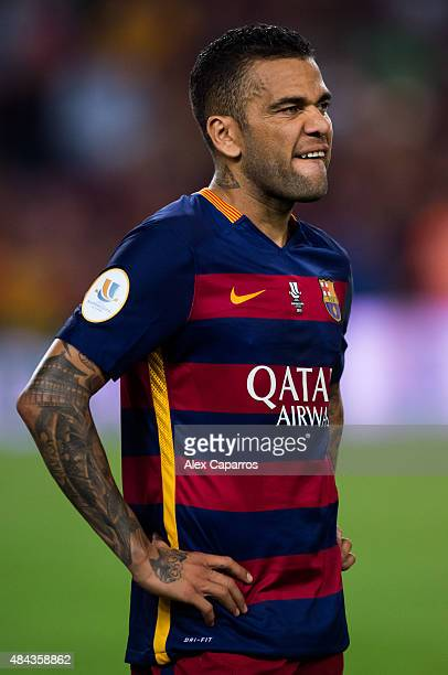 Dani Alves of FC Barcelona reacts after the Spanish Super Cup second leg match between FC Barcelona and Athletic Club at Camp Nou on August 17 2015...
