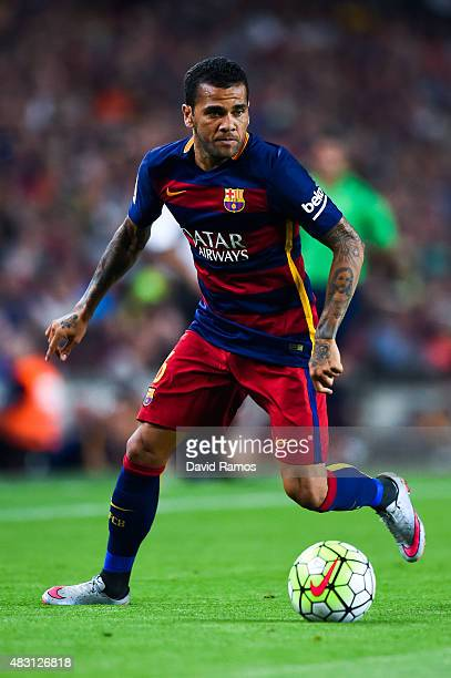 Dani Alves of FC Barcelona runs with the ball during the Joan Gamper trophy match at Camp Nou on August 5 2015 in Barcelona Spain