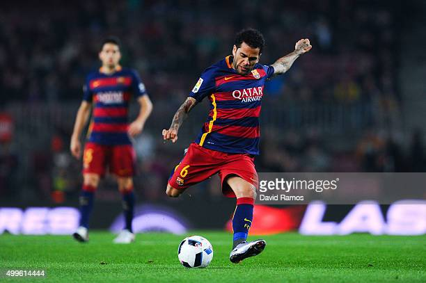Dani Alves of FC Barcelona scores the opening goal during the Copa del Rey Round of 32 second leg match betwen FC Barcelona and Villanovense on...