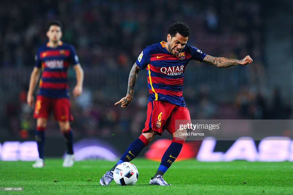 Dani Alves of FC Barcelona scores the opening goal during the Copa del Rey Round of 32 second leg match betwen FC Barcelona and Villanovense on December 2, 2015 in Barcelona, Spain.