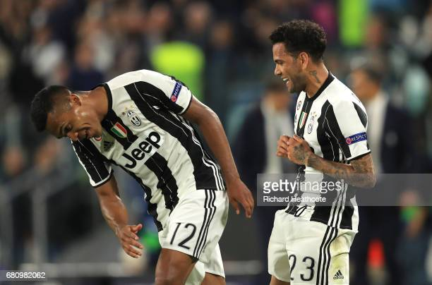 Dani Alves of Juventus celebrates scoring his sides second goal during the UEFA Champions League Semi Final second leg match between Juventus and AS...