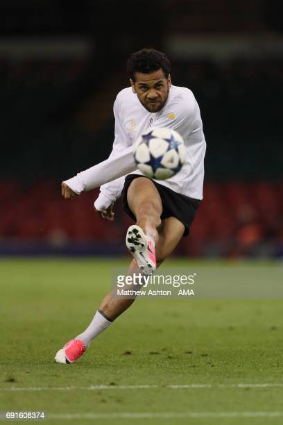 Dani Alves of Juventus during a Juventus training session prior to the UEFA Champions League Final at National Stadium of Wales on June 2 2017 in...