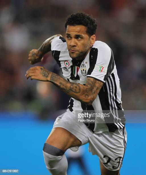 Dani Alves of Juventus FC celebrates after scoring the opening goal during the TIM Cup Final match between SS Lazio and Juventus FC at Olimpico...