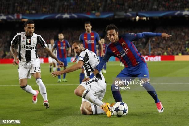 Dani Alves of Juventus FC Luis Suarez of FC Barcelona Giorgio Chiellini of Juventus FC Neymar of FC Barcelonaduring the UEFA Champions League quarter...